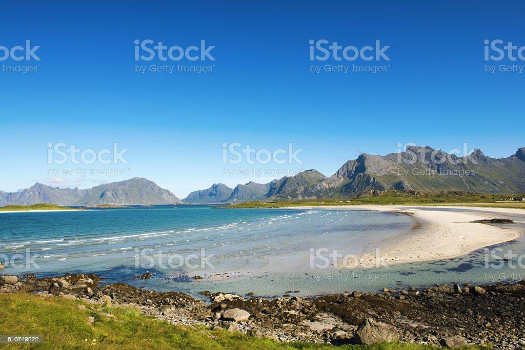 Fredvang's beach in Moskenesøya, Lofoten islands - Norway stock photo