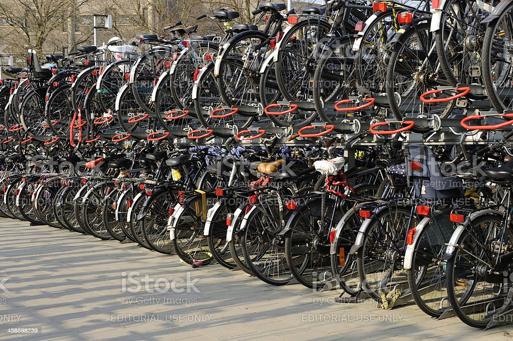 Free bicycle parking in Utrecht close to the railway station stock photo