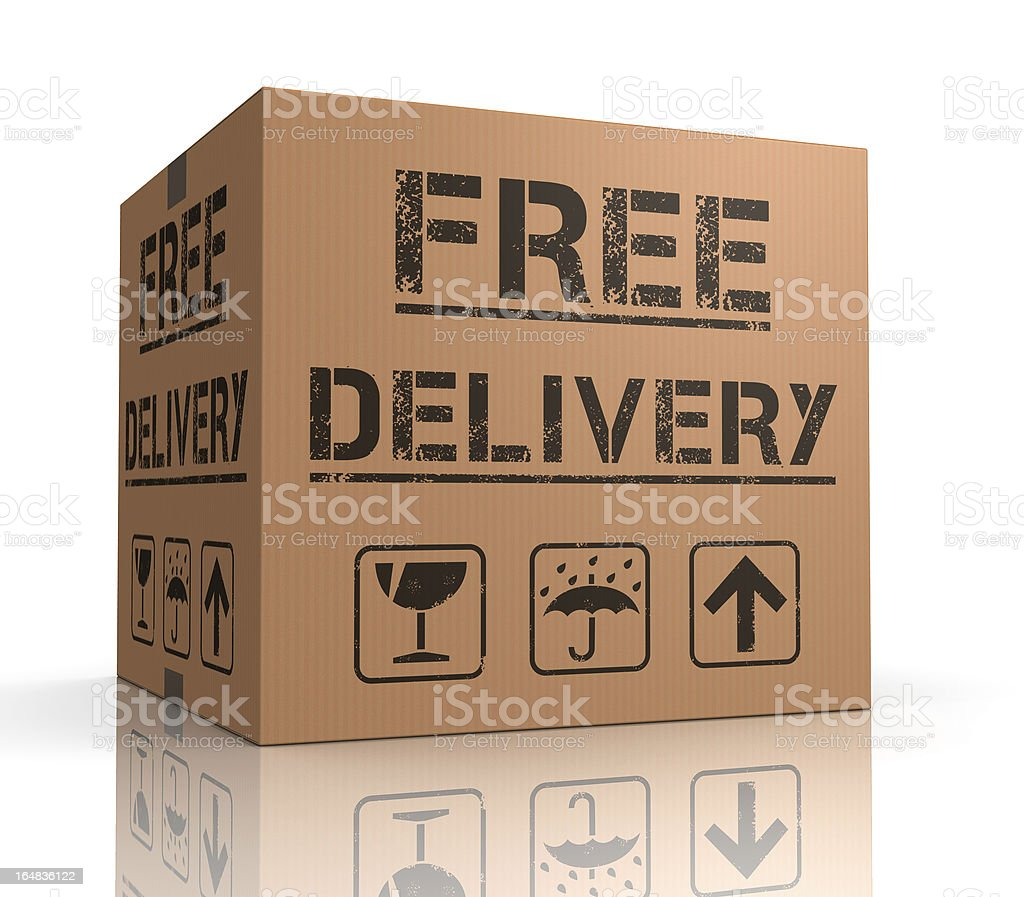 Free Delivery Cardboard Box royalty-free stock photo