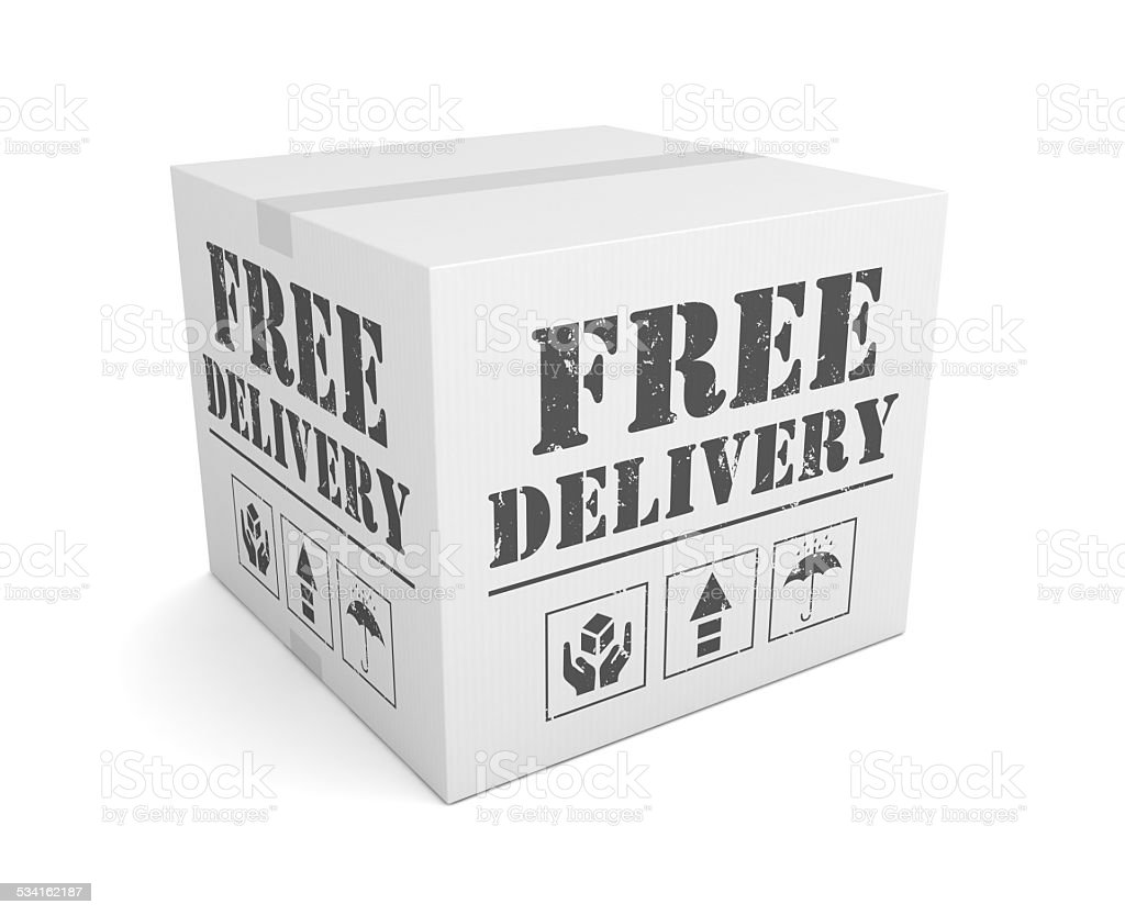 Free Delivery Cardboard Box stock photo