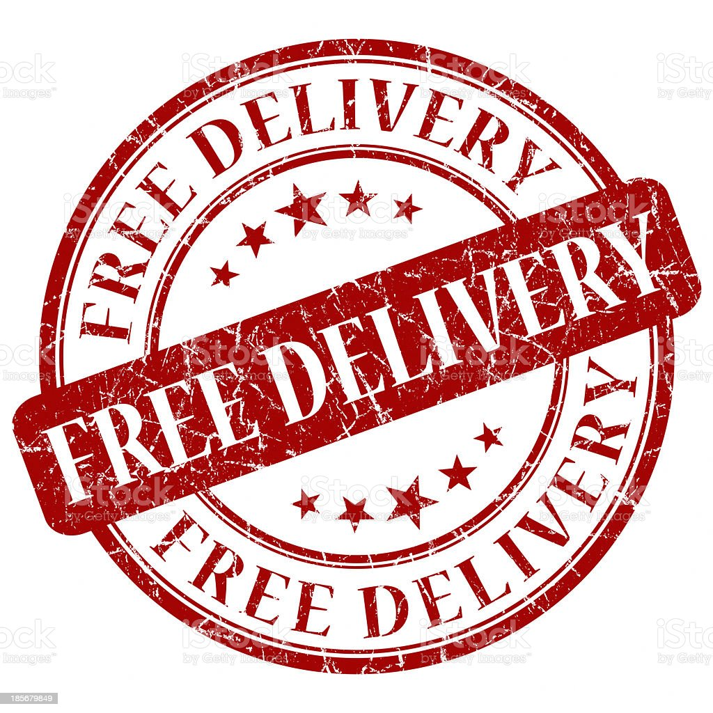 free delivery red round stamp royalty-free stock photo