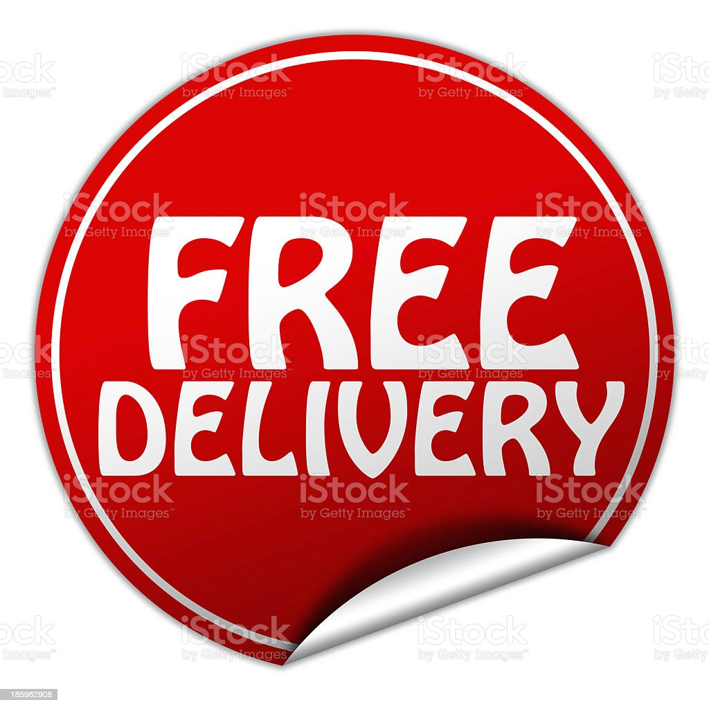 free delivery sticker stock photo