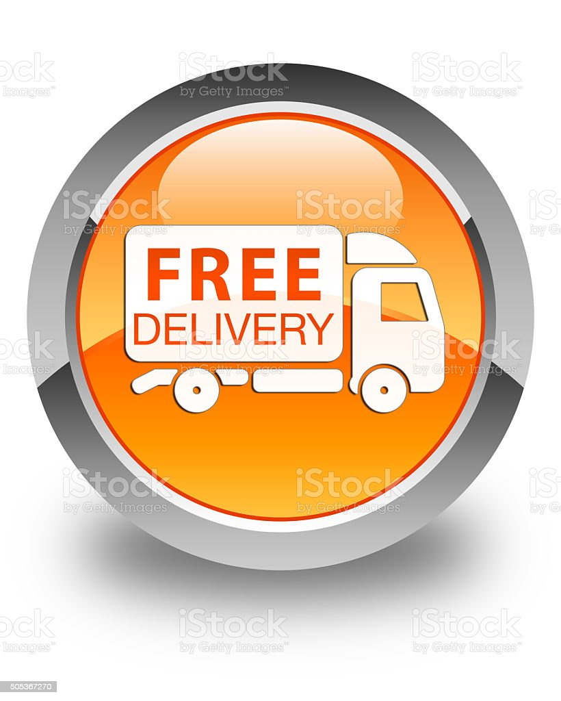 Free delivery truck icon glossy orange round button stock photo