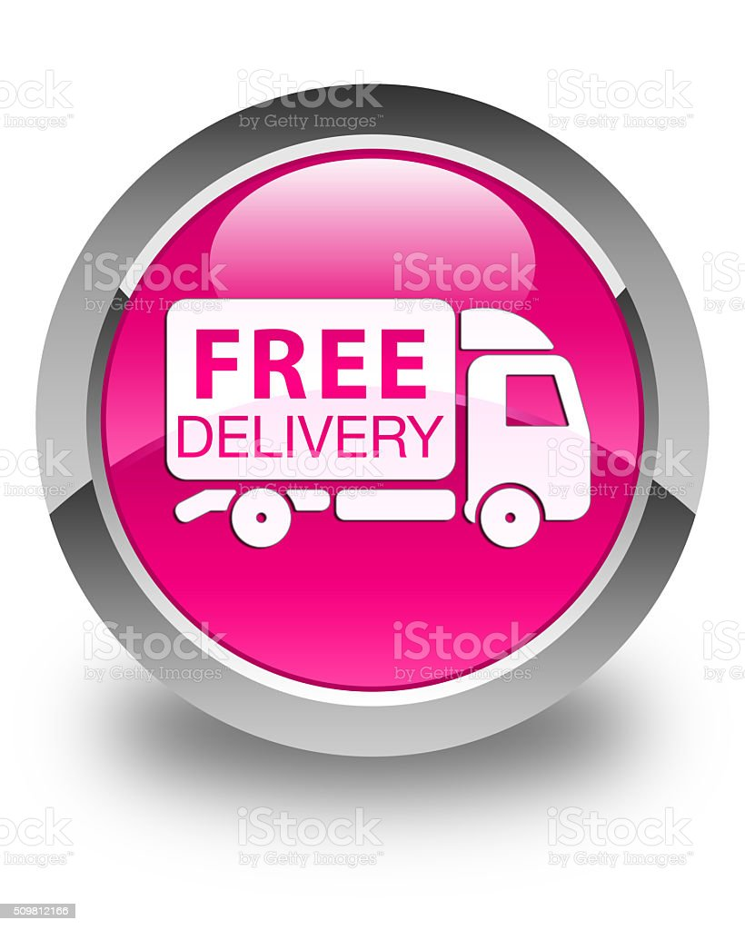 Free delivery truck icon glossy pink round button stock photo