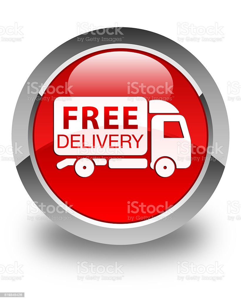 Free delivery truck icon glossy red round button stock photo