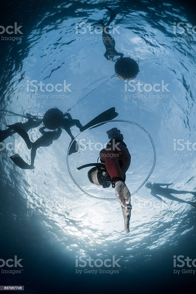Free diver descending to the depht stock photo