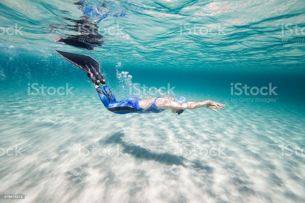 Free diver under the sea stock photo