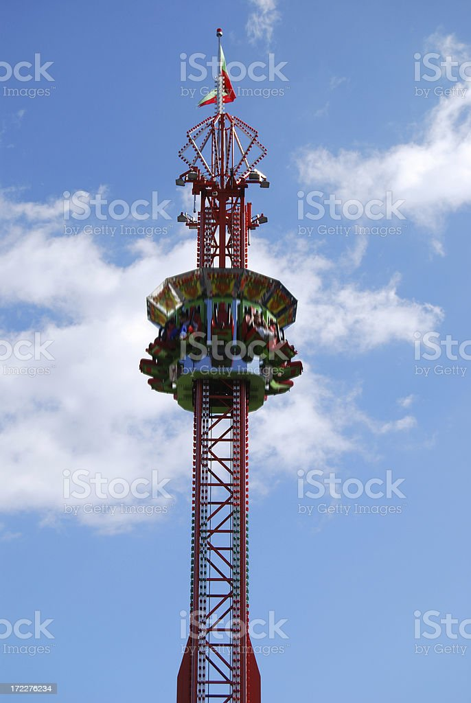 Free fall carnival ride. stock photo