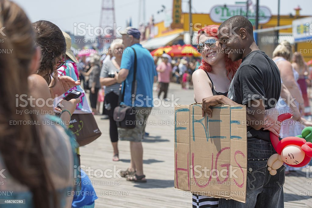 Free Hugs on Coney Island Boardwalk royalty-free stock photo