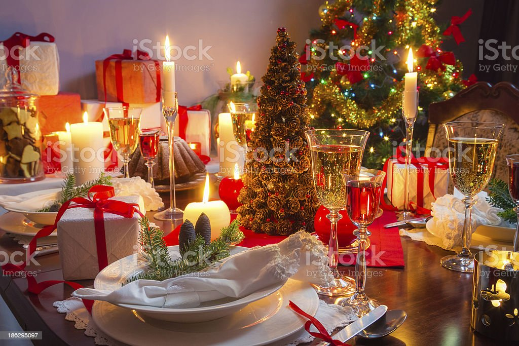 Free place at the Christmas table royalty-free stock photo