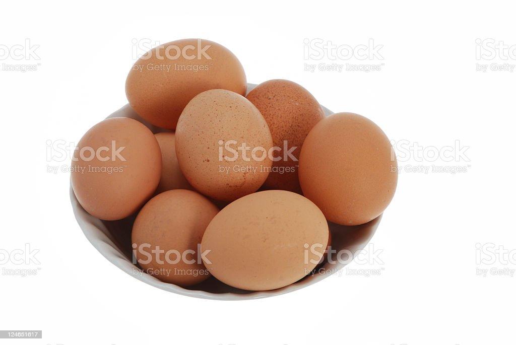 Free range chicken eggs in bowl stock photo