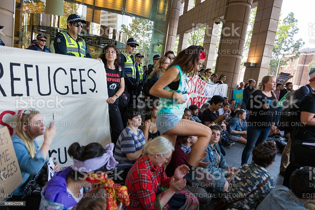 Free Refugee Rally - Don't Send Them Back! stock photo