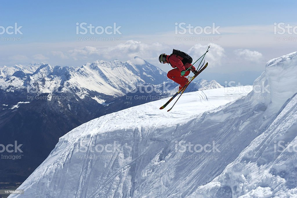 Free ride skier in extreme jump stock photo