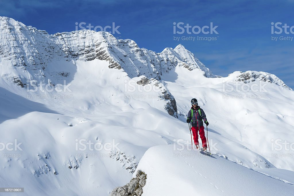 Free Ride Skier Posing in the Mountains royalty-free stock photo