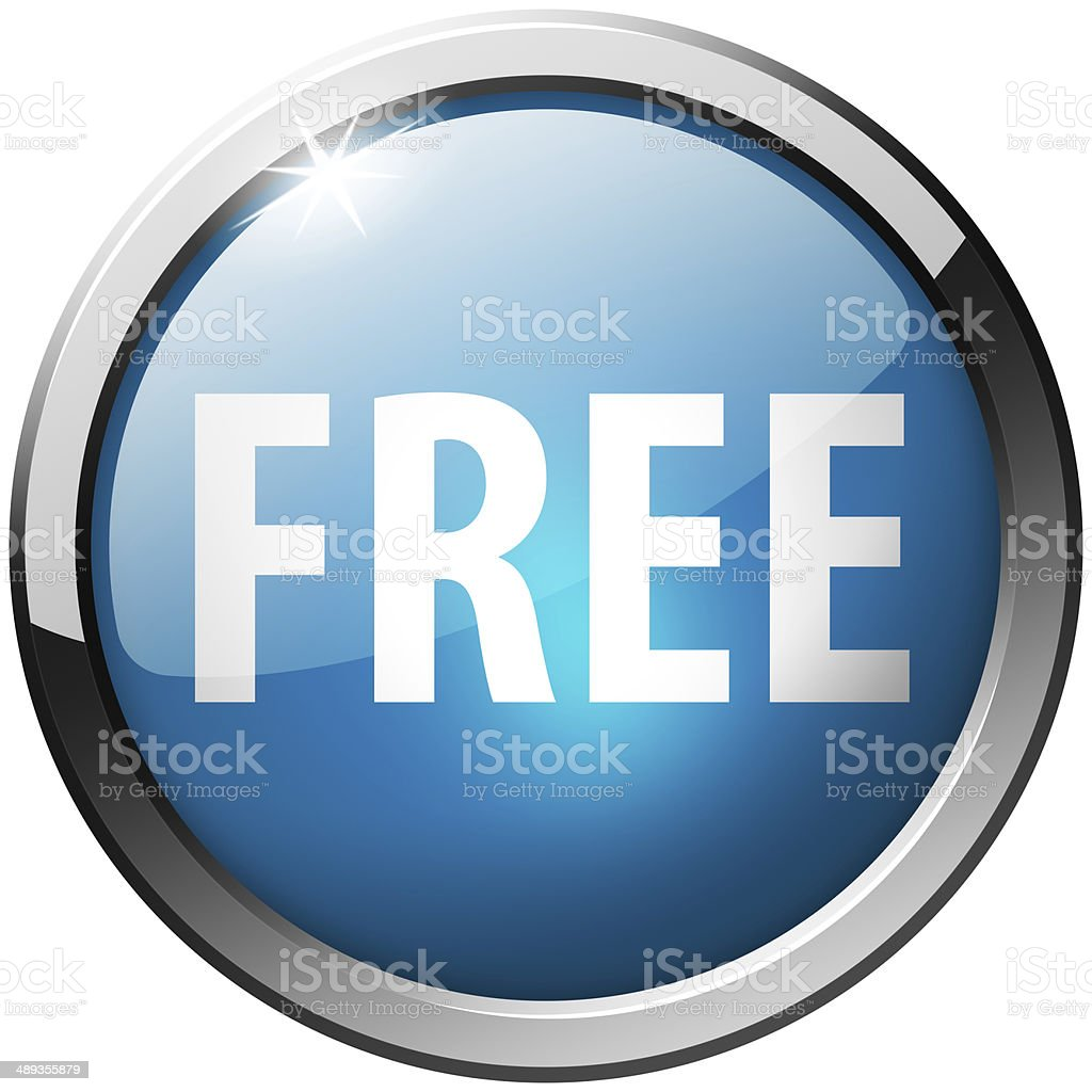 Free Round Blue Metal Shiny Button stock photo