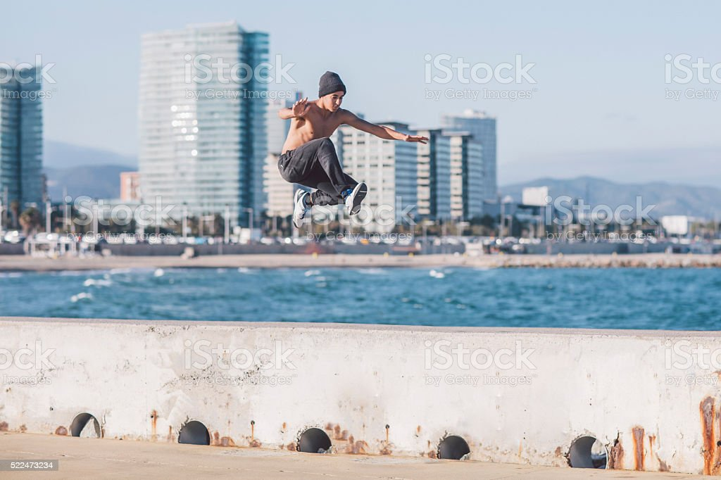 Free running in the city stock photo