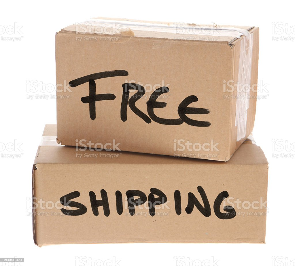 Free Shipping - Cardboard Boxes on White Background royalty-free stock photo
