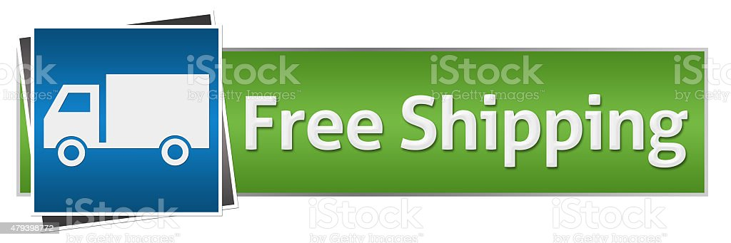 Free Shipping Green Blue With Truck stock photo