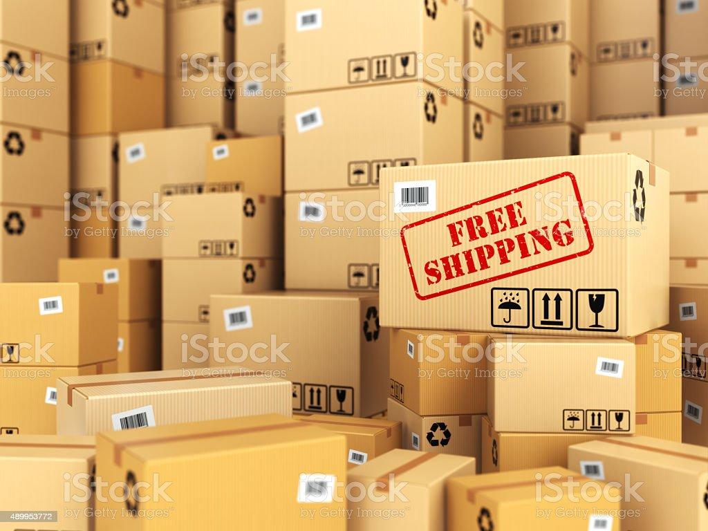 Free shipping or delivery. Cardboard boxes background. stock photo