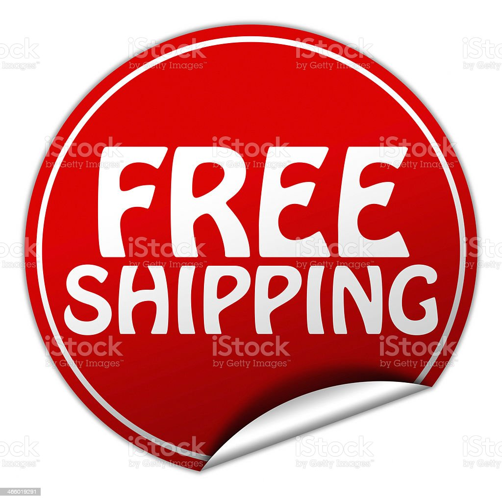 Free shipping round red sticker on white background royalty-free stock photo