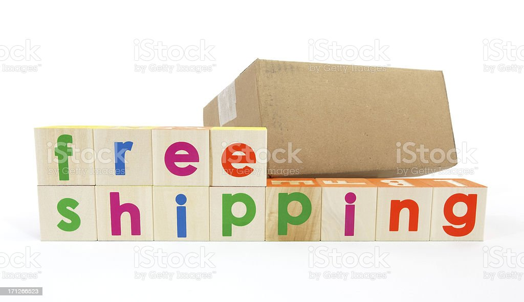 Free Shipping Spelled with Toy Blocks royalty-free stock photo