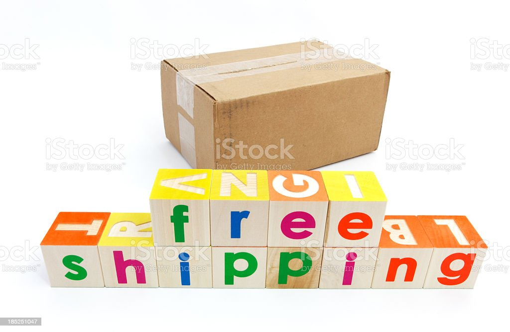 Free Shipping Splled with Toy Blocks royalty-free stock photo