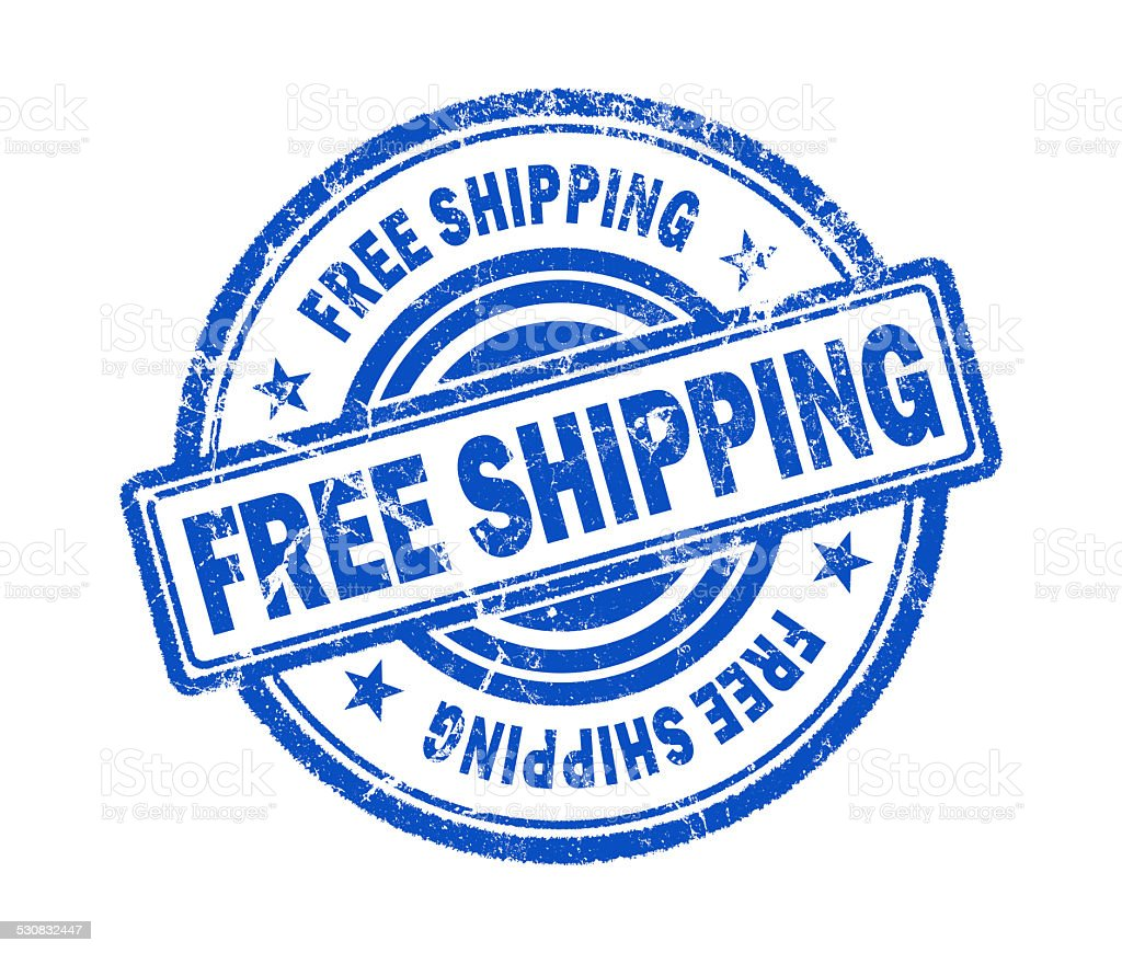 free shipping stamp on white background stock photo