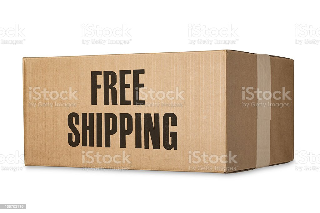 Free Shipping Stamped on Cardboard Box stock photo