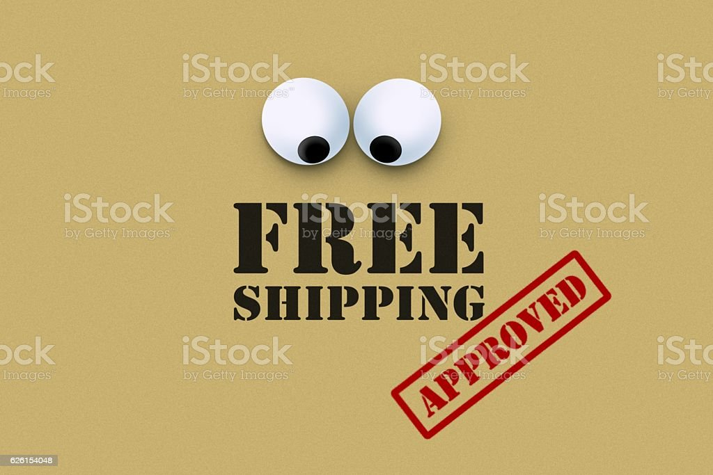Free shipping with an eye looking down stock photo