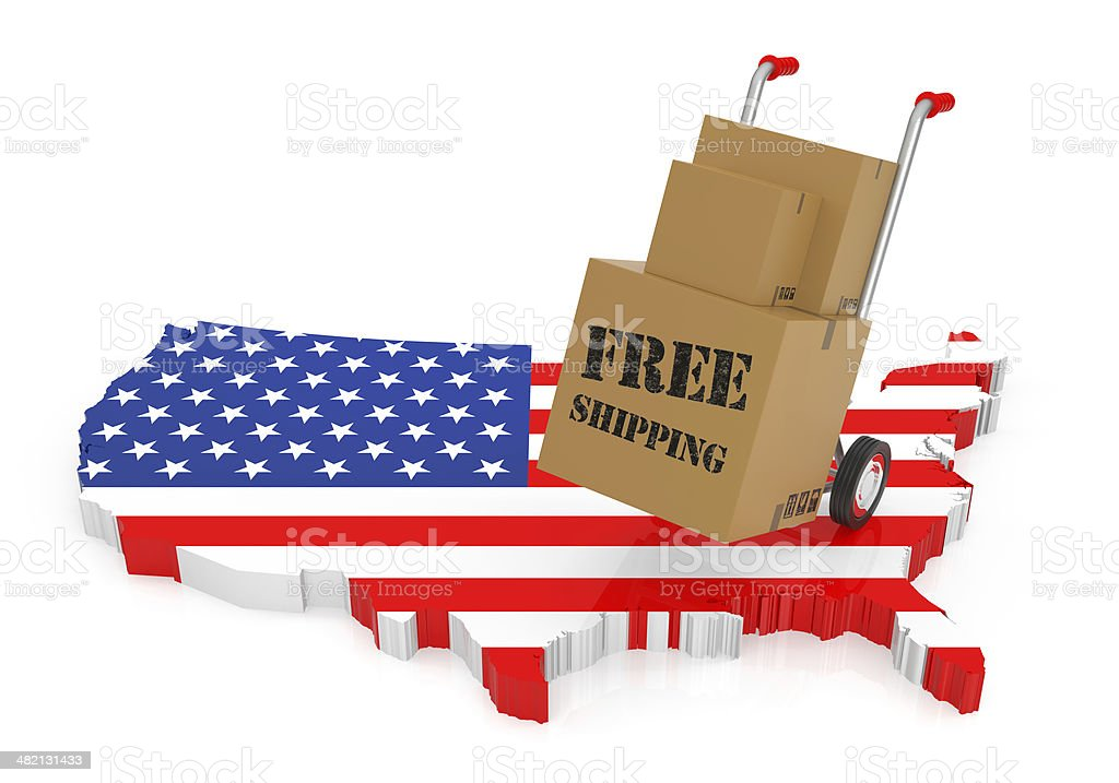 Free Shipping with  USA Map royalty-free stock photo
