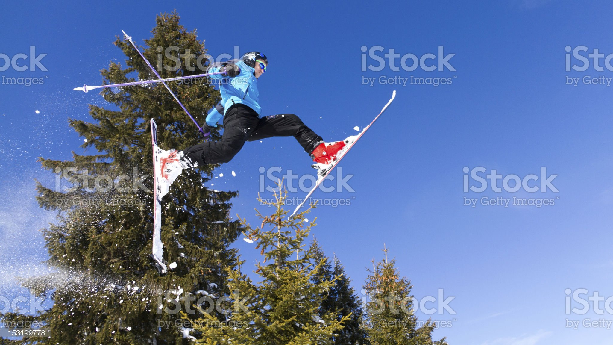 free skier in a jump royalty-free stock photo