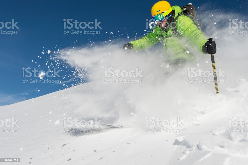 Free skiing at the highest level stock photo