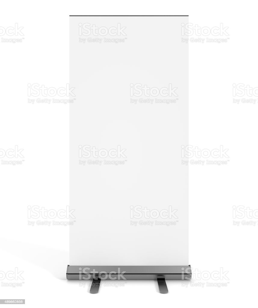 Free standing blank white display sign stock photo