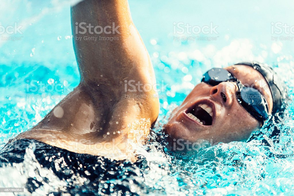 Free Style Competitive Swimmer stock photo
