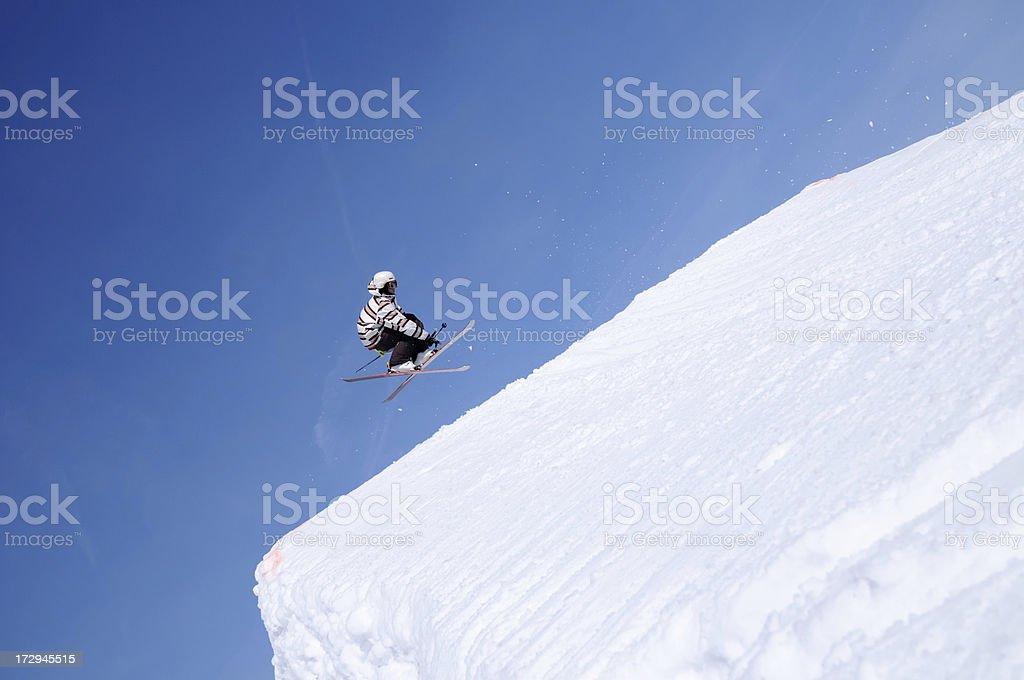 Free style skier flying royalty-free stock photo