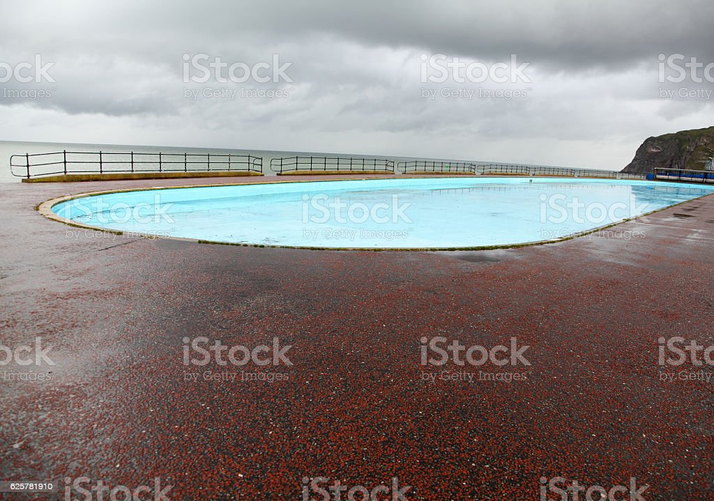 free to use public paddling pool at Llandudno,North Wales stock photo