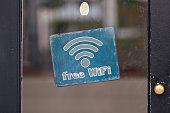 Free WiFi sign in a window
