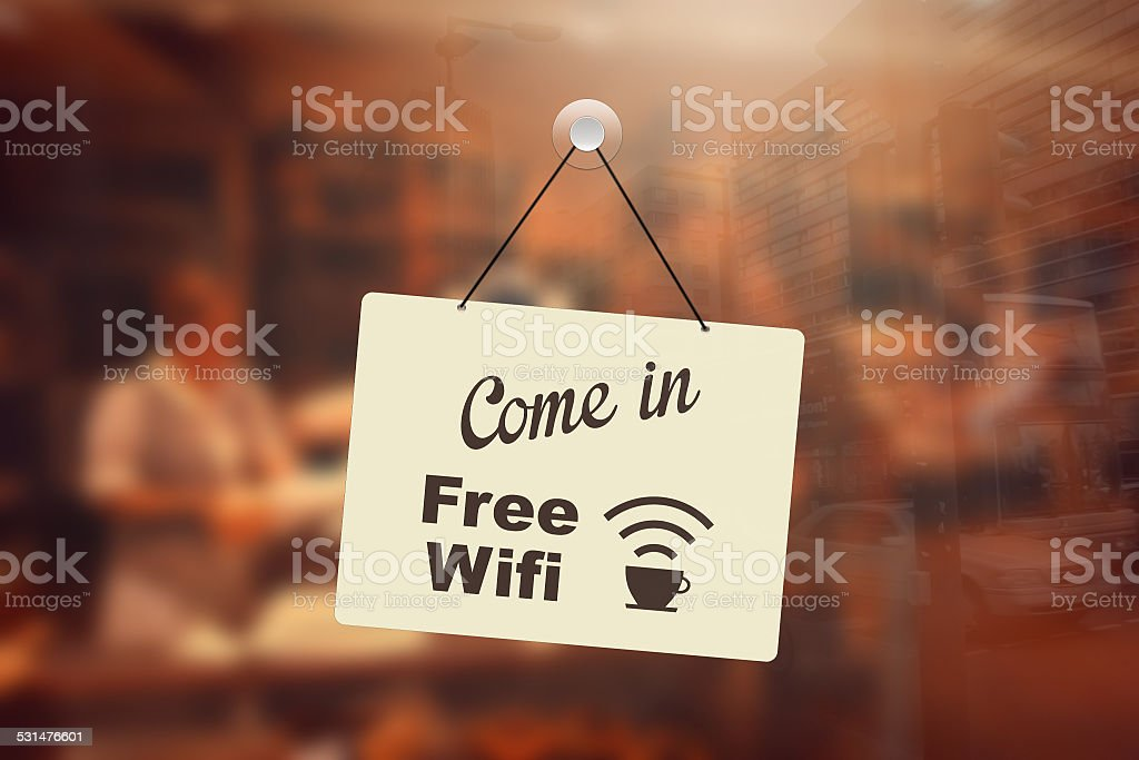Free wifi sign in coffee shop stock photo