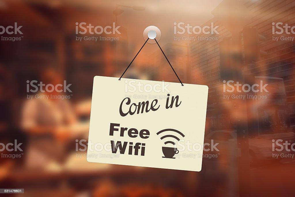 Free wifi sign in coffee shop stock photo
