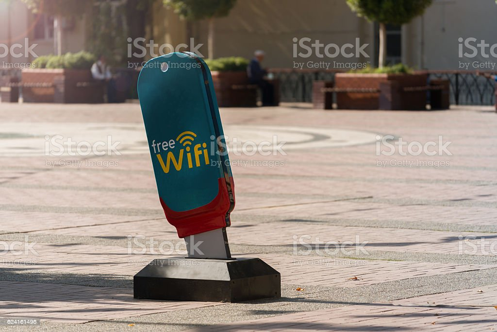 Free wifi sign on the usb icon stock photo