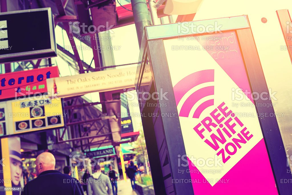 Free WIFI Zone in downtown of Wellington stock photo