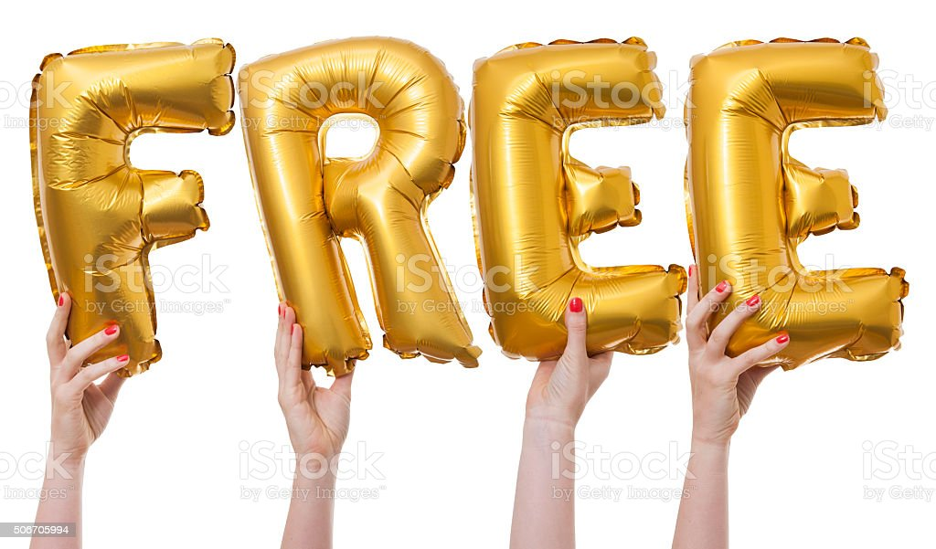 Free word made from gold balloons stock photo