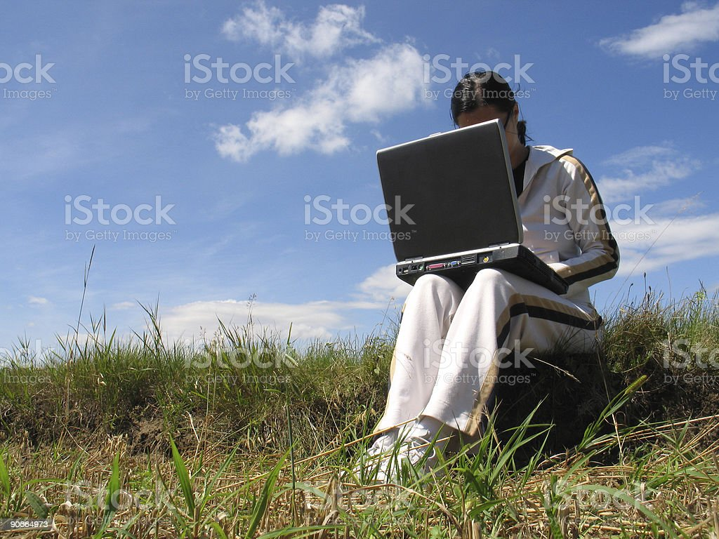 Free work with laptop royalty-free stock photo