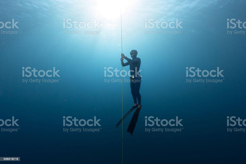 Freediver in the sea stock photo
