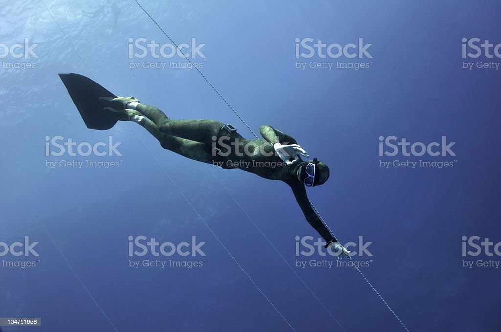Freediver shows the OK sign stock photo