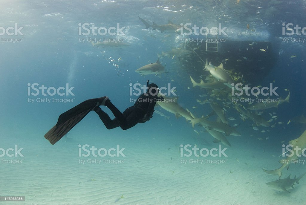 Freediver Wide with Boat and Lemons royalty-free stock photo