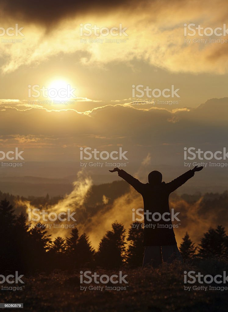 freedom and sunset stock photo