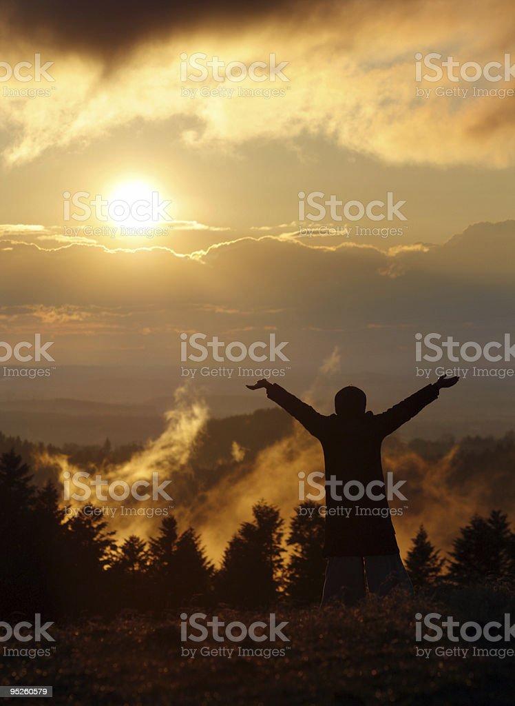 freedom and sunset stock photo