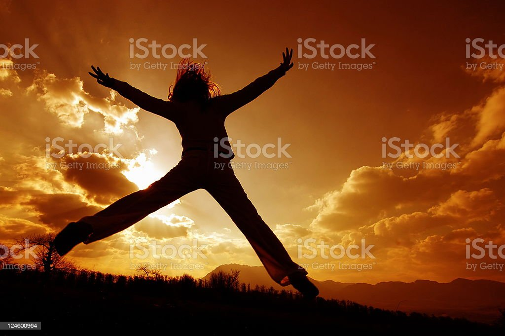 freedom arms raised royalty-free stock photo