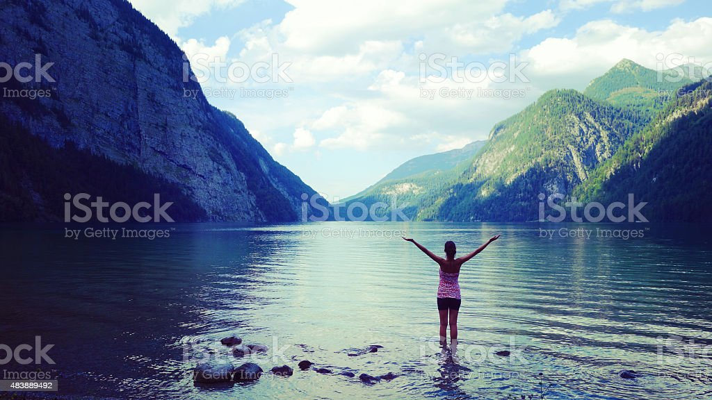 Freedom at K?nigssee, Germany stock photo